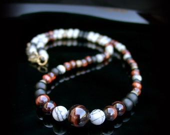 Jewelry men - necklace man in Jasper, onyx and Red Tiger eye Ref: RC-70