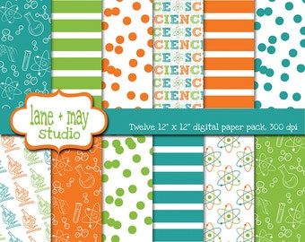digital papers - science party theme patterns in orange, aqua blue and green - INSTANT DOWNLOAD