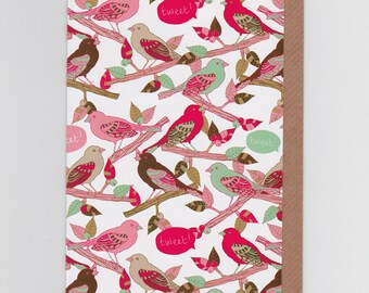 Tweet Tweet   Greetings Card with Bird Pattern Design