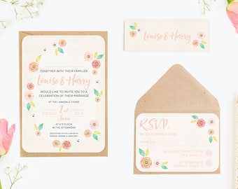 Bright Floral Bundle Wedding Invitation Bundle