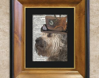 Dictionary Print: Agog Bouvier in Top Hat, Steampunk Dog Art Print