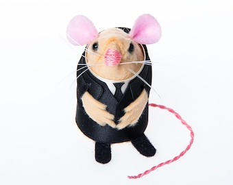 The Silence Doctor Who Monster mouse ornament artisan felt rat hamster mice cute gift for doctor who fan whovian or Dr Who collector