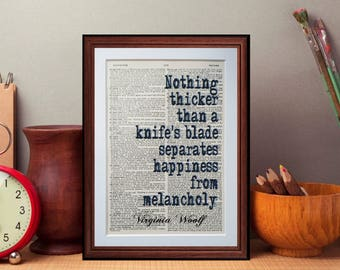 Virginia Woolf  Quote - dictionary page literary art print home decor present gift books
