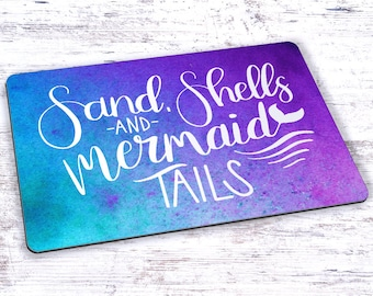 Sand Shells and Mermaid Tails Hand Lettering Watercolor Mousepad - 7.75 x 9.25