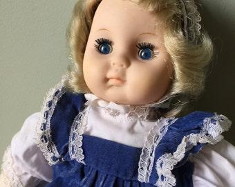 Mademoiselle Eugene Doll Christine with Blue Eyes and Blue Velveteen Dress