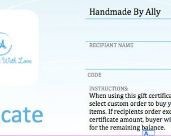 Handmade By Ally Shop Gift Certificates