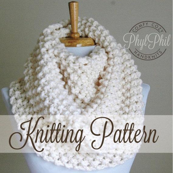 Knitting Pattern Infinity Scarf Easy Beginner Pattern Pdf Chunky