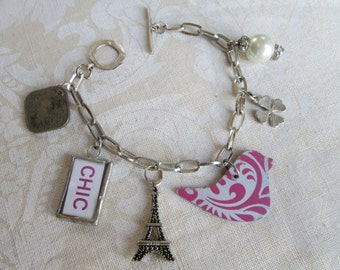 Recycled Soldered Charm Bracelet Charmed Vintage GIRLIE FUN