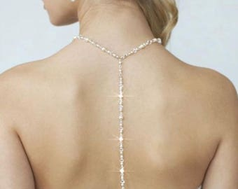 Your Choice Pearl & Crystal Colour Handmade Swarovski Pearl and Swarovski Crystal Back Necklace, Bridal, Wedding (Pearl-381-A)