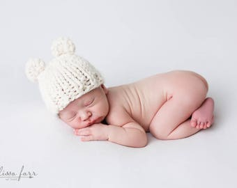 Knit Bear Hat Photo Prop Newborn, Baby Girl Photography, Newborn Bear Fisherman- Violet Hat