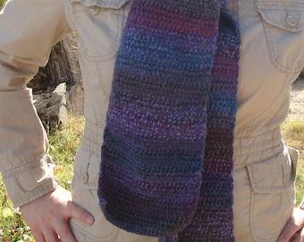 Spectrum: Wool Blend Multicolor Scarf for Women or Men, Variegated Purple Scarf in Shades of Plum, Royal Purple, Violet, Amethyst, Etc.