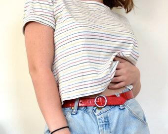 Liz Claiborne rainbow striped short sleeve cropped tee size Small S Medium M Large L