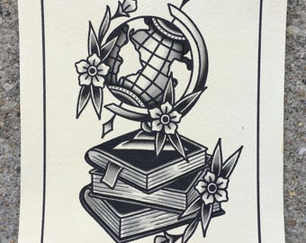 Globe and Books Print