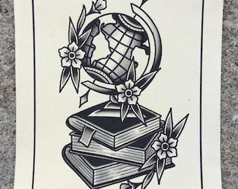 Globe and Books Print