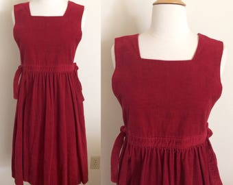 Vintage Corduroy Apron Dress Cranberry Red
