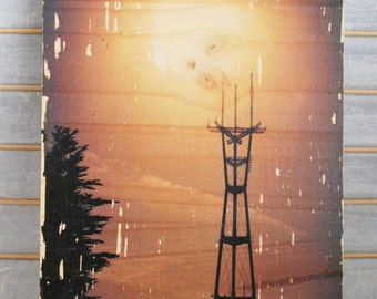"""Sutro Tower Glow - 12""""x15"""" Distressed Photo Transfer on Wood"""