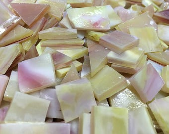 75 BUTTERCREAM & PINK Stained Glass Mosaic Tile Supply B43