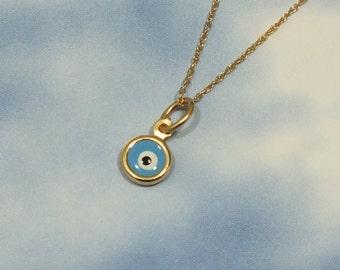 Tiny Evil Eye Necklace, 14k Solid Gold Evil Eye Necklace, Tiny 6mm Barely There Evil Eye Pendant, 14k Solid Gold Turkish Minimalist Neckace