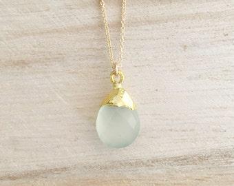 Seafoam gemstone drop necklace, seafoam chalcedony, chalcedony necklace, seafoam, layering necklace, gold necklace
