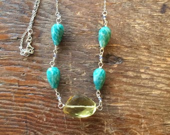 Amazonite Iolite Lemon Quartz Necklace in Sterling Silver