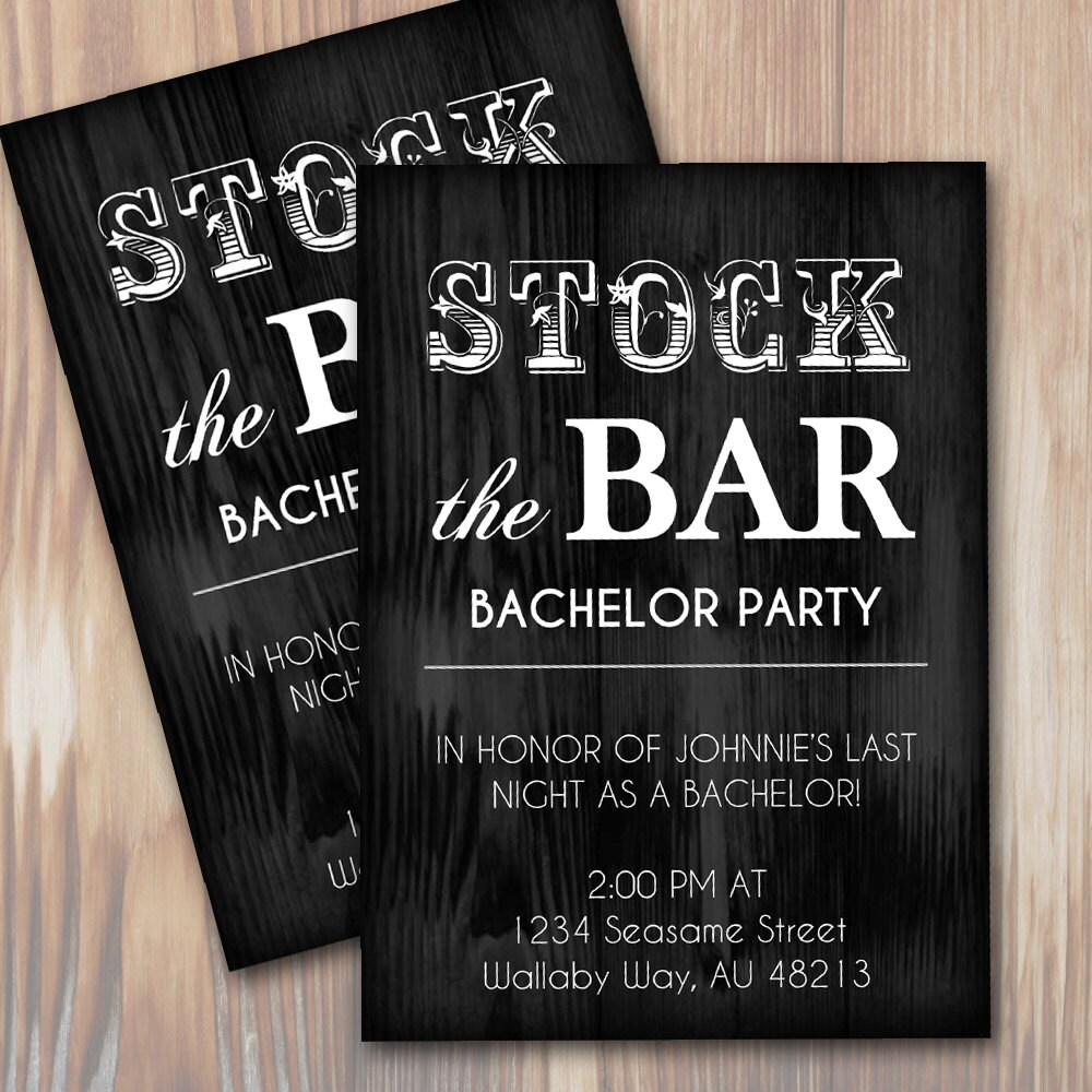 Stock the bar rustic bachelor party invitation instant zoom monicamarmolfo Choice Image