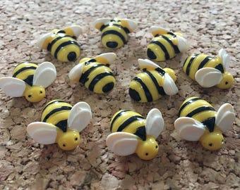 Bumble Bee Thumbtacks or Magnets, 10pcs - dorm decor, hostess gift, weddings, bridal shower, baby shower, gift