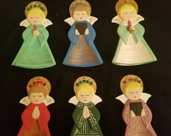 Vintage Christmas Angels - Hand Painted