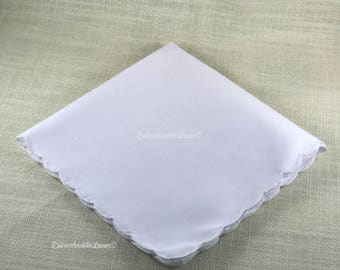 Set of 6 White Scalloped Edge Hem Vintage Handkerchief 12in x 12in Blank by EmbroiderableLinens© Premium Ultrasoft Material. Ships next day!