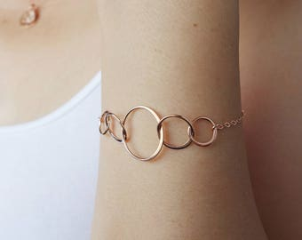 Rose Gold Bracelet 4 Best Friend Gift 50th Birthday Gifts for Women 40th Birthday Gifts for Women Circles Rose Gold Birthday Gift 4 Sisters