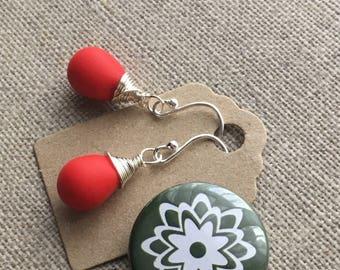 Matte Opaque Red Teardrop Sterling Silver Earrings. Briolette Earrings. Glass Bead Earrings. Wire Wrapped Earrings. Wedding Earrings