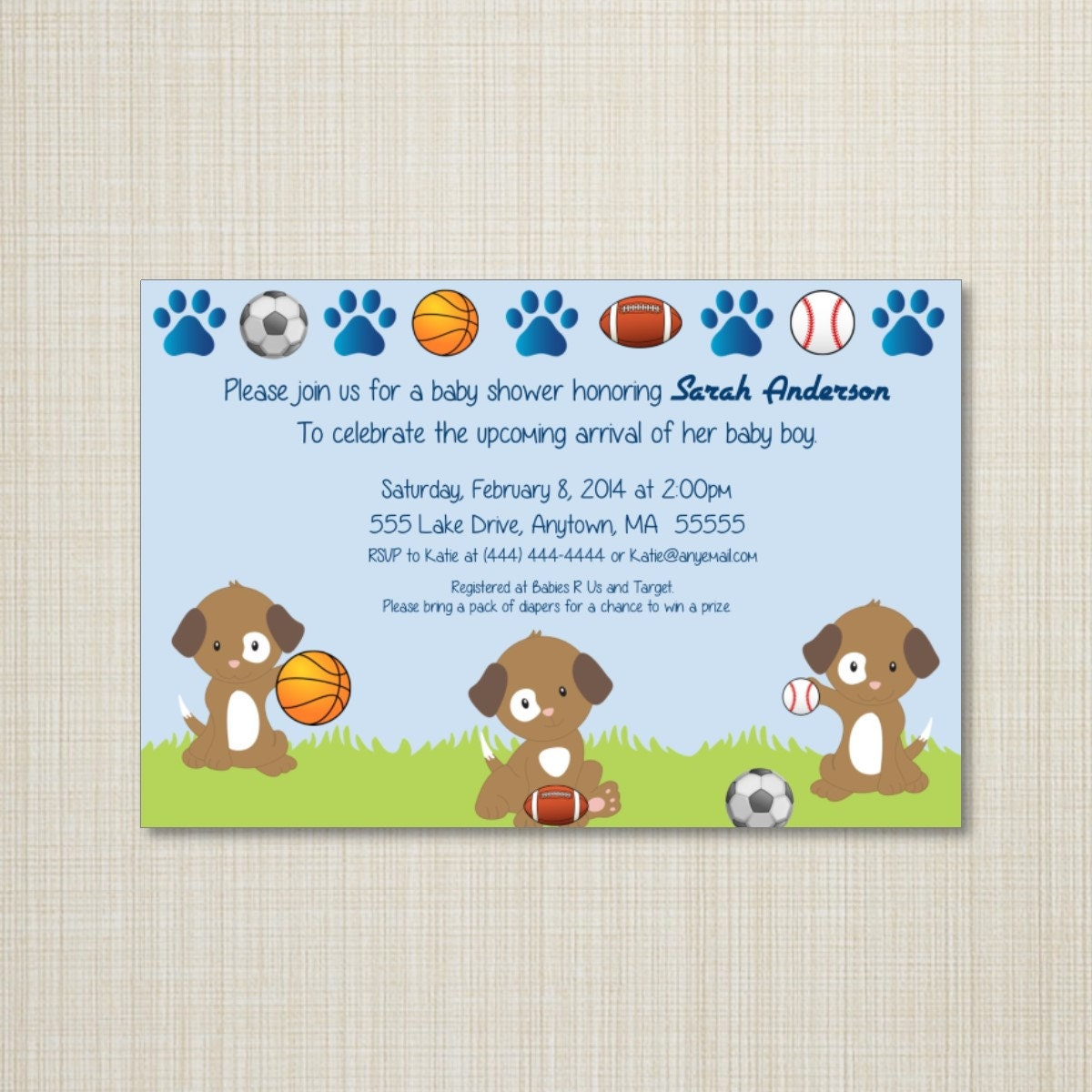 Sports puppies baby shower invitation you print zoom filmwisefo