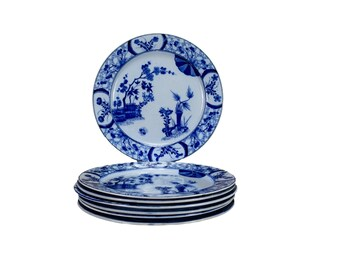 Set of 7 Creil & Montereau Plates, Japan Pattern Dinner Plates, French Antique 19th.C Pottery, White and Blue Plates
