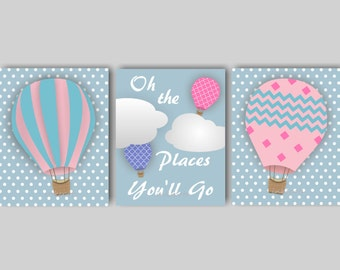 Baby Girl Nursery Art Hot Air Balloon Nursery Bedding Decor Balloon Nursery Art The Places You'll Go Print Collection CHOOSE Colors TRAB02