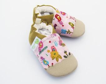 Organic Vegan Petite Fleur Birds in Pink / non-slip soft sole baby shoes / Made to Order / Babies Toddler Preschool