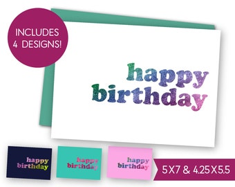 Happy Birthday Printable Card Bundle - Instant Download B-day Greeting Card, Birthday Party E-Card, Digital DIY Gift Tag Card to Print S1320