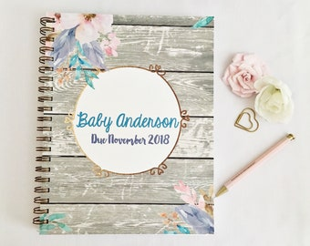 Personalized Pregnancy journal, expecting mom gift, pregnancy tracker, first Mother's Day gift, gift for her, custom pregnancy planner