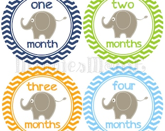 Monthly Baby Boy Stickers, Milestone Stickers, Baby Month Stickers, Monthly Bodysuit Sticker, Monthly Stickers Chevron Elephants(Eli)