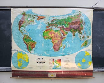 Map wall hanging etsy pull down world map vintage wall hanging decor gumiabroncs Image collections