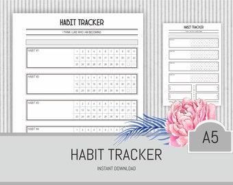Habit Tracker Printable PDF Instant Download Daily Monthly Habit Log A5 Planner 2018 Insert Life Organiser Goal Tracker Black and White