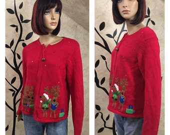 Reindeer sweater, Size medium sweater, Red sweater, Christmas sweater, Holiday sweater, Winter sweater