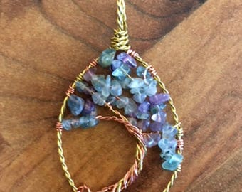 Flourite Tree of Life Teardrop Pendant