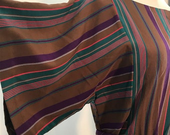 1970s Multicolored Striped Boatneck Dress with Wide Sleeves and Matching Belt