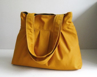 Sale - Mustard Canvas Bag - purse, tote, shoulder bag, diaper bag, double straps - APRIL