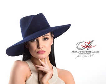 "Women hat/Felt hat with broad brim for women ""My ocean""/Hat for horse racing/Gift for her/Ladies Hat/Hat for holidays/Evening hat/Royal hat"