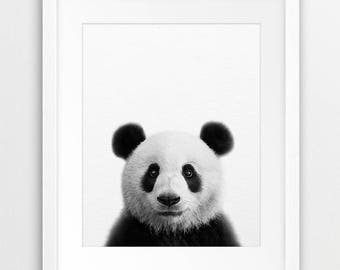 Panda Print, Panda Bear, Nursery Wall Art, Black White Animals, Nursery Decor, Woodland Animal Print, Forest Animal, Kids Room Printable Art