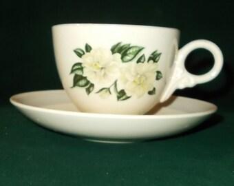 Homer Laughlin Cup Saucer Set Nautilus Grey Band White Gardenia Flower Vintage Dinnerware Teacup Replacement Piece