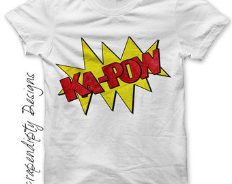 Comic Book Iron on Shirt PDF - Kapow Iron on Transfer / Infant Boys Clothes / Comic Book Shirt / Boys Shirt Design / Comic Printable IT114