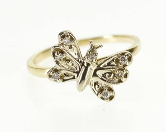 10k Diamond Inset 3D Butterfly Two Tone Statement Ring Gold