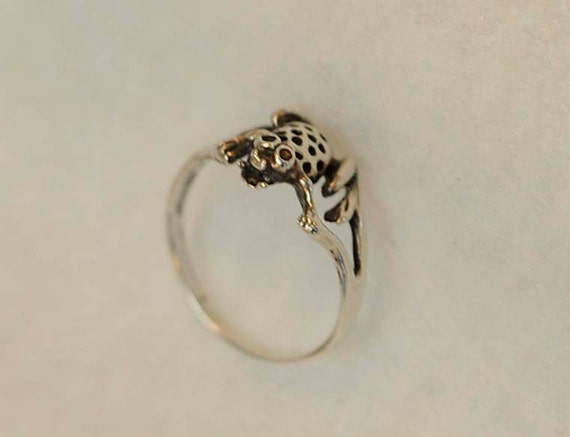 Vintage Sterling Silver 925 Ring.. FIGURAL TOAD Design With Nice Detail.. Size 7
