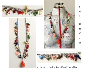 Cracker Jack Necklace Vintage Collectable Charms 1920's - 1950's Fashion Accessory